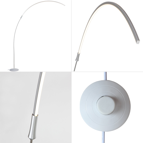 Brightech - Sparq LED Arc Floor Lamp - Curved, Contemporary Minimalist Lighting Design - Warm White Light - Silver
